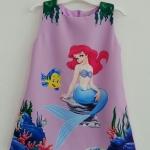 Zara Kids : เดรสพิมพ์ลายเมอร์เมด สีม่วง มีกระเป๋าข้าง Size : 1 (1-2y)