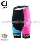 กางเกงจักรยานผู้หญิงขาสั้น CheJi 16 (02) สีชมพูฟ้าดำ ลายผีเสื้อ Recing is life