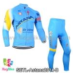 ชุดจักรยานแขนยาวทีม Astana 14 สีฟ้า