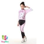 ชุดจักรยานเด็กแขนยาวขายาว Power (07) สีชมพูลาย Hello Kitty