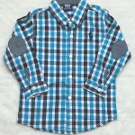 Polo : เสื้อเชิ๊ตแขนยาว แปะศอก ลายทางสีฟ้า Size : 1T / 2T / 3T / 4T / 5T / 6T