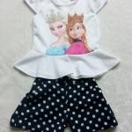 Ploy : Set เสื้อพิมพ์ลาย เจ้าหญิง Anna&Elsa+กางเกงขาสั้นลายจุดสีน้ำเงิน