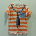 H&M : เสื้อยืด ลายขวาวเนคไทด์ สีส้ม