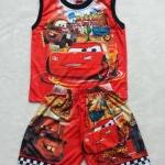 Disney : เสื้อแขนกุด+กางเกงพิมพ์ลาย คาร์ สีแดง ผ้ามัน