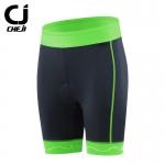 กางเกงจักรยานผู้หญิงขาสั้น CheJi 16 สีดำ แถบเขียว