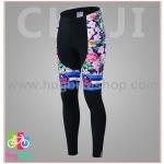 กางเกงจักรยานผู้หญิงขายาว CheJi 16 (01) สีน้าเงิน ลายดอกไม้ Recing is life