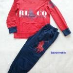 Polo : Set เสื้อแขนยาว + กางเกงขายาว สกรีนลาย ม้าโปโล สีแดง เนื้อผ้านิ่ม ไม่หนามาก