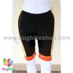กางเกงจักรยานผู้หญิงขาสั้น ALE 16 (11) สีเขียวดำส้มลายฟองน้ำ