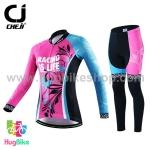 ชุดจักรยานผู้หญิงแขนยาวขายาว CheJi 16 (02) สีชมพูฟ้าดำ ลายผีเสื้อ Recing is life