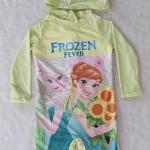 ชุดว่ายน้ำ บอดี้สูทแขนยาว พร้อม หมวก ลาย Frozen Fever สีเขียวมะนาว size : 10 (6-7y) / 12 ( 7-8y)