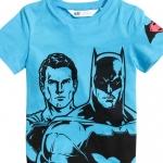 H&M : เสื้อยืดพิมพ์ลาย Batman&Superman สีฟ้า size : 1-2y