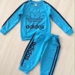 ชุดเซ็ท เสื้อแขนยาว + กางเกงขายาว adidas สีฟ้า size : 1y / 2y / 6y