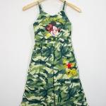 Disney : จั๊มสูท สายเดี่ยว ลายมินนี่เมาส์ สีเขียวทหาร size S / M