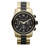นาฬิกาข้อมือ Michael Kors รุ่น MK8265 Michael Kors Runway Chronograph Black Dial Gold-Tone Watch MK8265 Size 45 mm