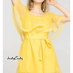 มินิเดรสเปิดไหล่ สีเหลืองสวย