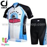 ชุดจักรยานเด็กแขนสั้นขาสั้น CheJi (04) สีดำขาวฟ้าลาย Unicorn