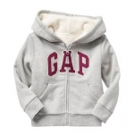 Gap : Jacket มีฮูด ซิปหน้า ด้านในบุขนหนานุ่ม สีเทา size : 18-24m / 2T / 3T