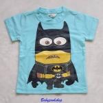 H&M : เสื้อยืด สกรีนลาย Minion Batman สีฟ้า size 1-2y