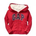 Gap : Jacket มีฮูด ซิปหน้า ด้านในบุขนหนานุ่ม สีแดงเข้ม size : 3T