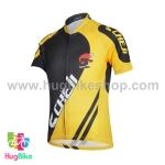 เสื้อจักรยานเด็กแขนสั้น CheJi สีเหลืองดำ
