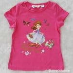 H&M เสื้อยืด ลายเจ้าหญิงโซเฟีย สีชมพูเข้ม (สกรีนมีรอยแตก) size : 1-2y / 2-4y