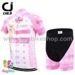ชุดจักรยานเด็กแขนสั้นขาสั้น CheJi สีขาวจุดชมพูลายหมี
