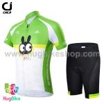 ชุดจักรยานเด็กแขนสั้นขาสั้น CheJi สีเขียวขาวลายกระต่าย