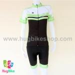ชุดจักรยานผู้หญิงแขนสั้นขาสั้น ALE 16 (08) สีดำขาวเขียว