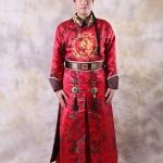 &#x2724 เช่าชุดแฟนซี ชุดฮ่องเต้ จักรพรรดิ์จีน ป้ายหยก ลายมังกร - สีแดง