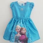 Disney : ชุดเดรสกระโปรง สกรีนลาย Frozen สีน้ำเงิน size : 8 (8-10y)