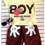 Aime'e : Set เสื้อ+กางเกง BOY สีเหลือง-น้ำตาล size : 1y / 2y