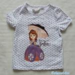 H&M : เสื้อยืด สกรีนลาย เจ้าหญิง โซเฟีย สีขาว (สินค้ามีตำหนิ สกรีนแตก )Size : 1-2y