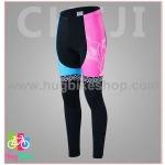 กางเกงจักรยานผู้หญิงขายาว CheJi 16 (02) สีชมพูฟ้าดำ ลายผีเสื้อ Recing is life