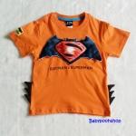 Bat&Sup : เสื้อยืด Batman Supperman สีส้ม size : L (7-8y)