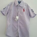 POLO : เสื้อเชิ๊ต แขนสั้น ปักม้าโปโล สีม่วงอ่อน size 3
