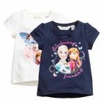 H&M : เสื้อยืดสกรีนลาย Frozen สีกรม (งานช้อป) size : 1-2y / 2-4y