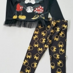 เซ็ต minnie สีดำ กางเกงสีดำทอง size 2-4 / 4-6 / 6-8