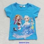 H&M : เสื้อยืดสกรีนลาย Frozen สีฟ้า size : 6-8y