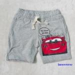 H&M : กางเกงขาสั้นผ้ายืด ลาย Car สีเทา เชือกผูกรูดเอวได้ size : 6-8y