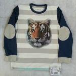 TEZENIS : เสื้อยืดสกรีนลายเสือแขนยาว ปะหนังที่แขน Size 8-9y / 10-11y