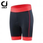 กางเกงจักรยานผู้หญิงขาสั้น CheJi 16 สีดำ แถบแดง