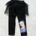 H&M : กางเกงเลกกิ้ง มีระบาย สกรีน ลาย เอลซ่า สีดำ size 2-4y