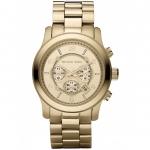 นาฬิกาข้อมือ Michael Kors รุ่น MK8077 Michael Kors Chronograph Runway Gold-Tone Stainless Steel Bracelet Watch MK8077 Size 45 mm