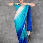 เช่าชุดแฟนซี &#x2665 ชุดแฟนซี ชุดอินเดีย ชุดแขก ส่าหรี - ไซส์ใหญ่ ไล่โทน สีฟ้า