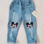 ZARA : กางเกงยีนส์ ปักลายมินนี่เมาส์ สีอ่อน size : 2 / 4