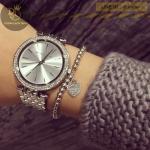 นาฬิกาข้อมือ Michael Kors MK3190 Michael Kors Darci Silver Dial Pave Bezel Ladies Watch MK3190