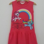 ชุดเดรส สกรีนลายม้าโพนี่ friendship สีชมพูเข้ม (งานป้ายผิด) size : 4-6y