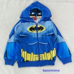 Batman : แจ็คเก็ทกันหนาว มีฮูด ลาย Batman สีน้ำเงิน เนื้อผ้าออกลื่นๆ Size : M (8-9y)