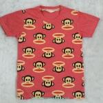 H&M : เสื้้อยืดสกรีนลายพอลแฟรงค์ สีแดง size 8-10y