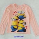 H&M : เสื้อยืดแขนยาว สกรีนลายมินเนียน สีชมพู size : 2-4y / 4-6y / 6-8y / 8-10y